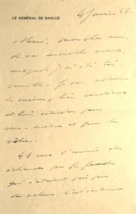 De Gaulle. Lettre autographe signée.
