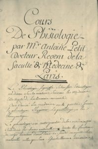 Médecine. Antoine Petit. Manuscrit autographe inédit.