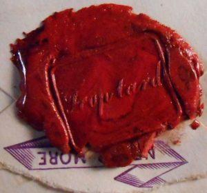 Barbey d'Aureviily. Cachet de cire rouge.