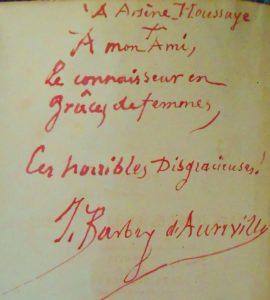 Barbey d'Aurevilly. Dédicace misogyne.