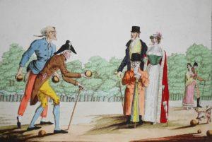 Jeu de Boule. Gravure 1817.