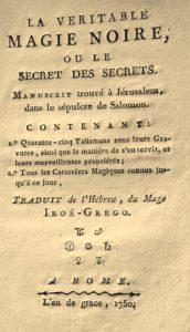 La Véritable Magie noire. 1750. Titre.