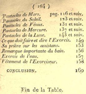 La Véritable Magie noire. 1750. Table.
