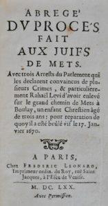 Antisémitisme. Procès de Raphaël Lévy. 1670.
