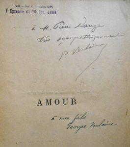 Verlaine. Amour. Envoi de l'auteur et annotations de Vanier.