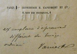 Verlaine. Amour. Exemplaire d'épreuves annoté par Vanier.