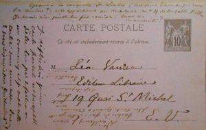 Verlaine. Carte auographe signée adressée à Léon Vanier.