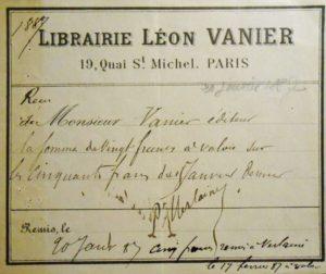 Verlaine. Reçu signé d'une avance consentie par Vanier.